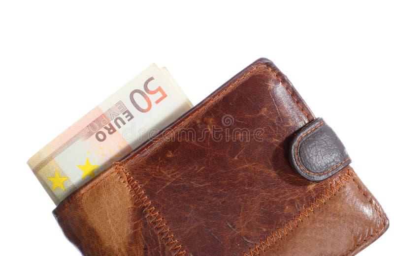 Wirtschaft und Finanzierung. Geldbörse mit der Eurobanknote lokalisiert stockfotografie