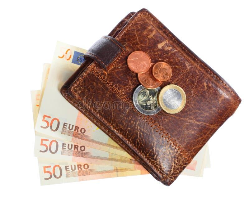 Wirtschaft und Finanzierung. Geldbörse mit der Eurobanknote lokalisiert stockbild