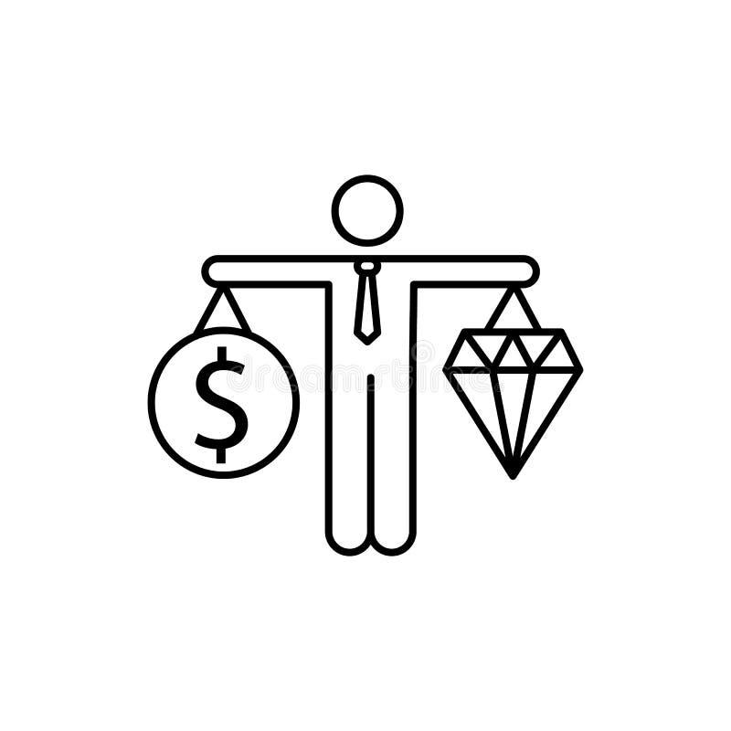 Wirtschaft, Werte, Balancenikone Element der Geschäftsikone lizenzfreie abbildung