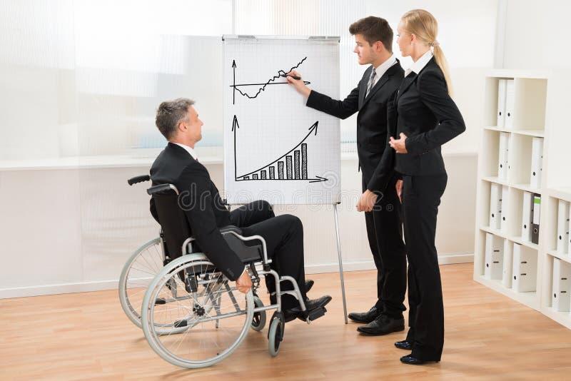 Wirtschaftler, die auf Geschäftsmann Explaining Graph hören lizenzfreie stockfotos