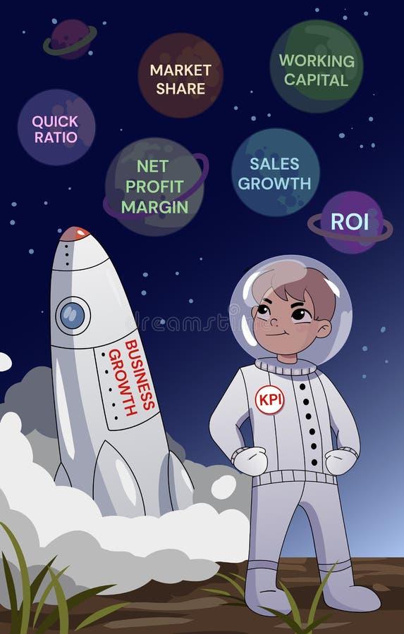 Wirtschaftler um riesigen Pfeil oben zeigend Ein Geschäftsmann in einer Raumstellung mit den gefalteten Armen über dem Raketenweg lizenzfreie abbildung