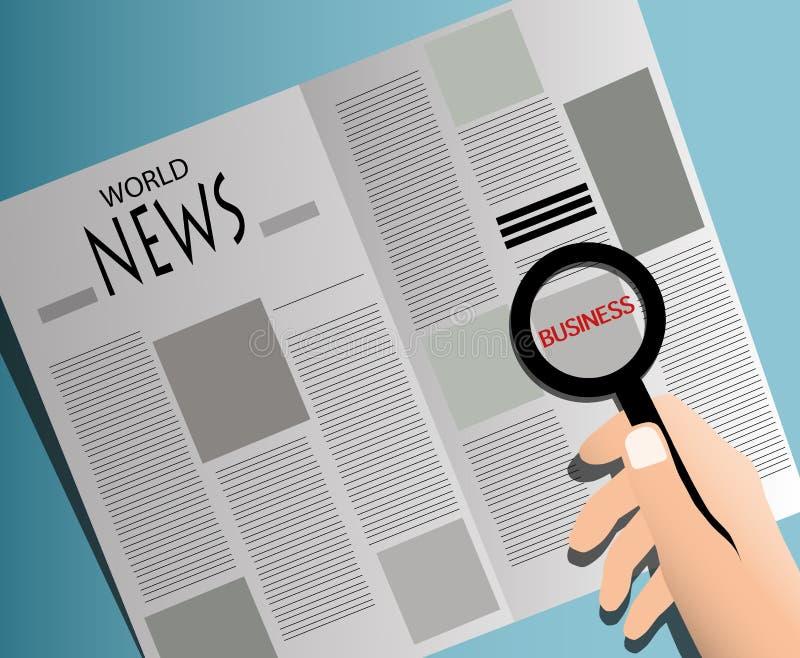 Wirtschaftlerlesezeitung mit Lupe stockfoto