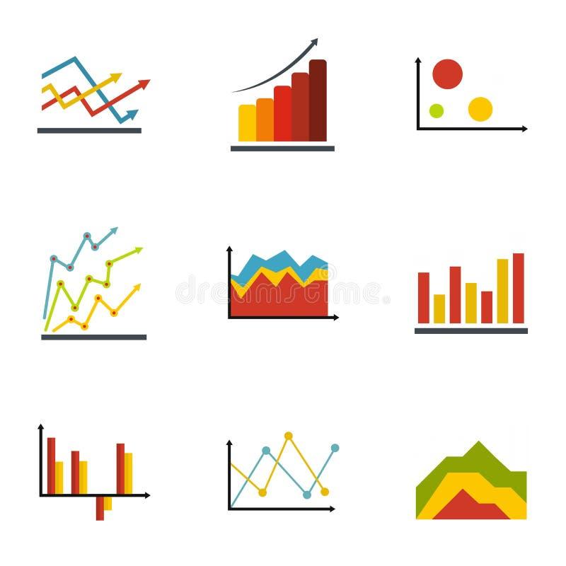 Wirtschaftliche Tabellenikonen eingestellt, flache Art vektor abbildung