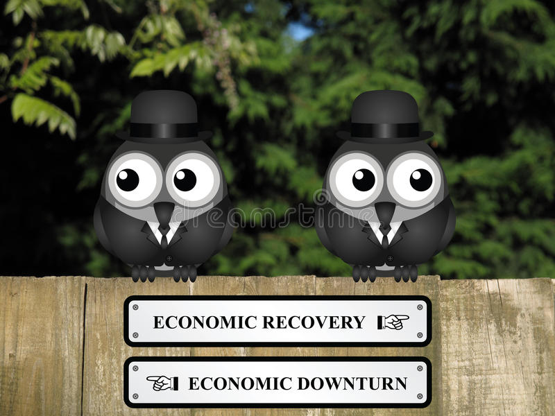 Wirtschaftsaufschwung oder Rückgang stock abbildung
