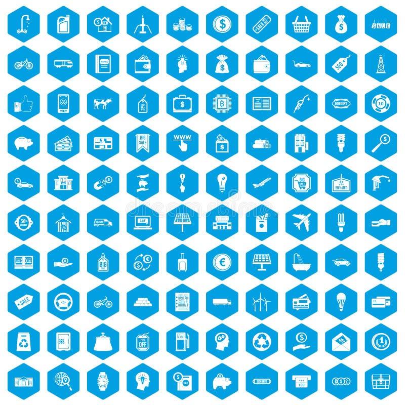 100 Wirtschaftsikonen blau eingestellt lizenzfreie abbildung