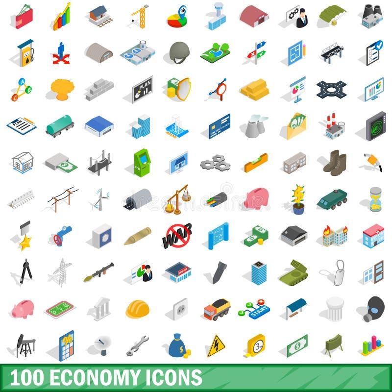 100 Wirtschaftsikonen eingestellt, isometrische Art 3d vektor abbildung