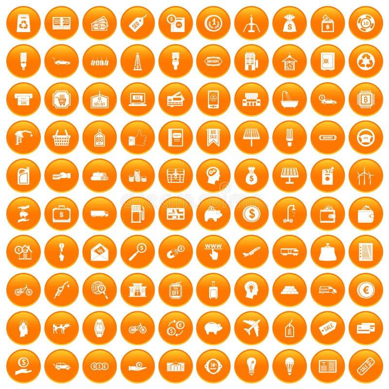 100 Wirtschaftsikonen orange eingestellt lizenzfreie abbildung