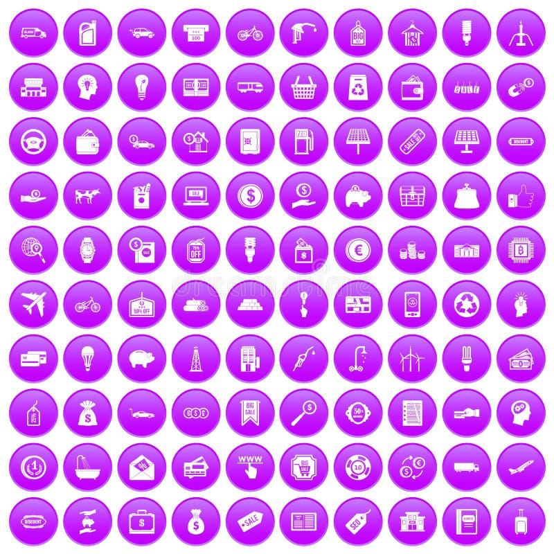 100 Wirtschaftsikonen purpurrot eingestellt lizenzfreie abbildung