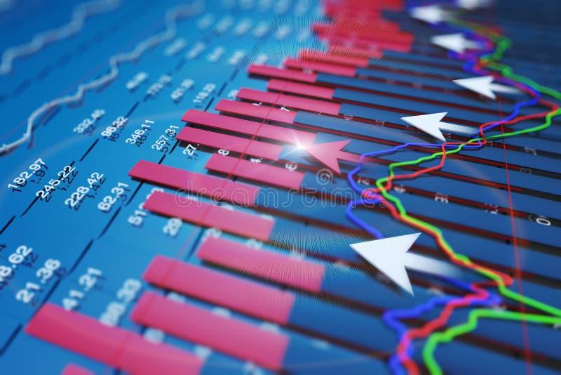 Wirtschaftsindikatoren und bewegen sich vorwärts mit dem Pfeil lizenzfreies stockbild