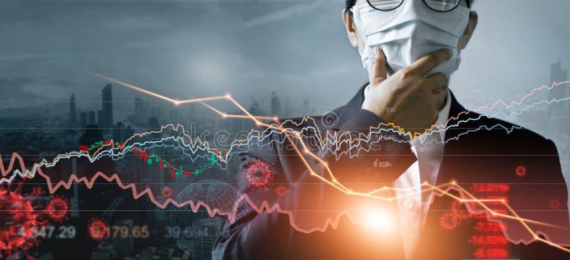 Wirtschaftskrise, Geschäftsmann mit Maske, Analyse der wirtschaftlichen Auswirkungen des Corona-Virus, Krisensituation und finanz lizenzfreies stockbild