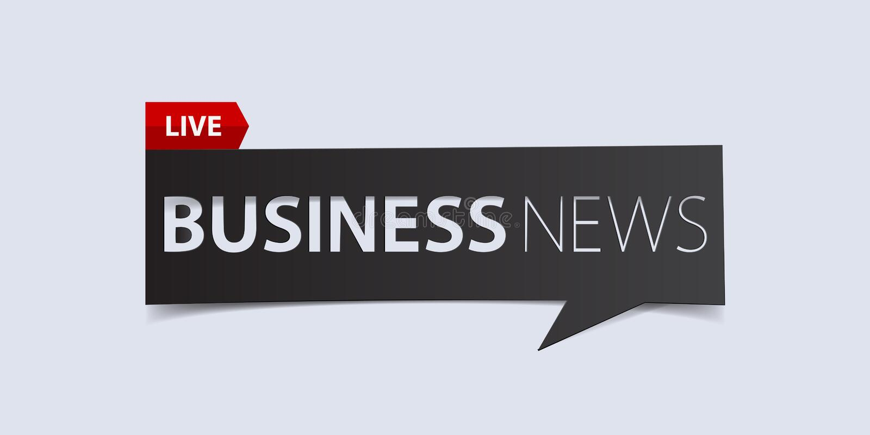 Wirtschaftsnachrichttitel auf weißem Hintergrund Fahnen-Designschablone der letzten Nachrichten Vektor lizenzfreie abbildung