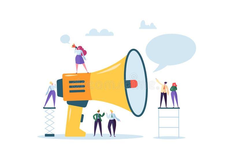 Wirtschaftswerbungs-Förderung Lautsprecher, der mit der Menge spricht Großes Megaphon und flache Leute-Charakter-Anzeige stock abbildung