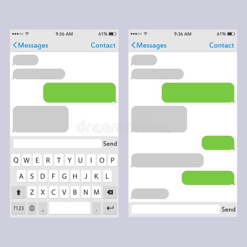 Wirtualna kluczowa deska dla telefonu komórkowego z miejscem dla tekst gadki teksta pudełek n Mockup klawiatura dla ekranu sensor ilustracja wektor