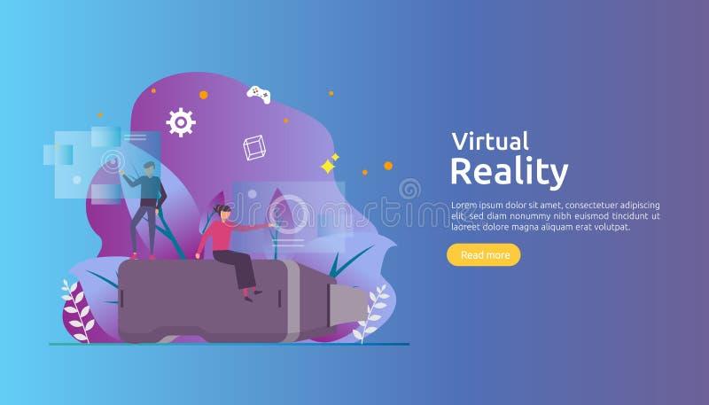 Wirtualna zwi?kszaj?ca rzeczywisto?? ludzie charakteru dotyka VR interfejs i jest ubranym gogle bawi? si? gry, edukacja, zabawia, ilustracja wektor