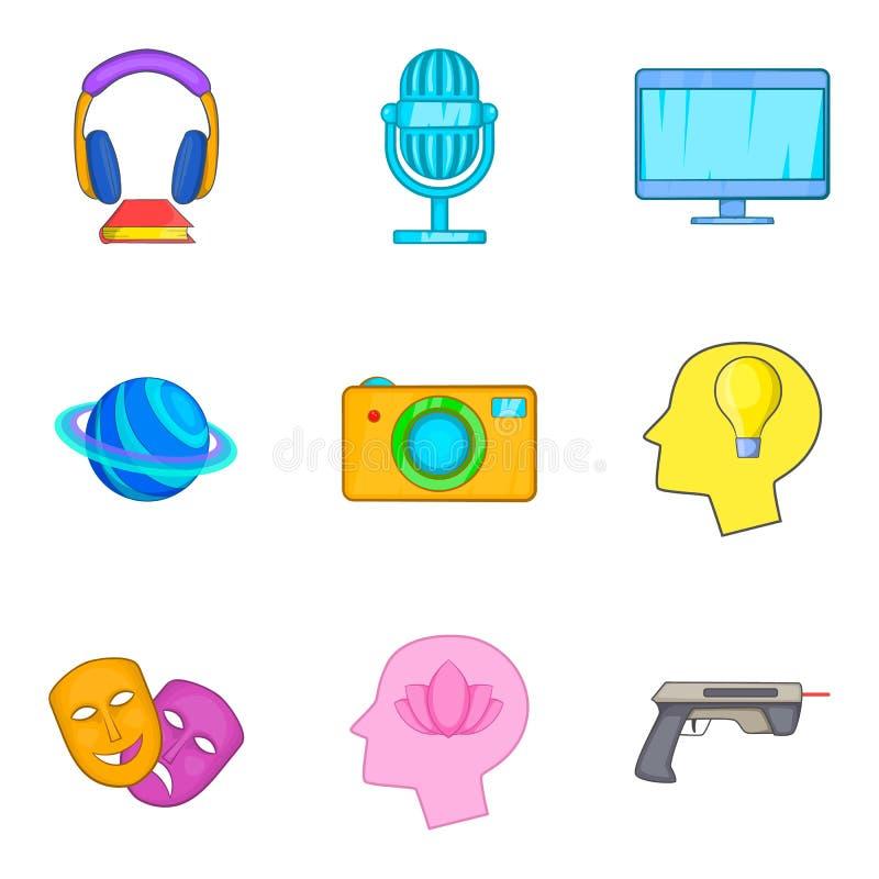Wirtualne miejsce ikony ustawiać, kreskówka styl ilustracja wektor