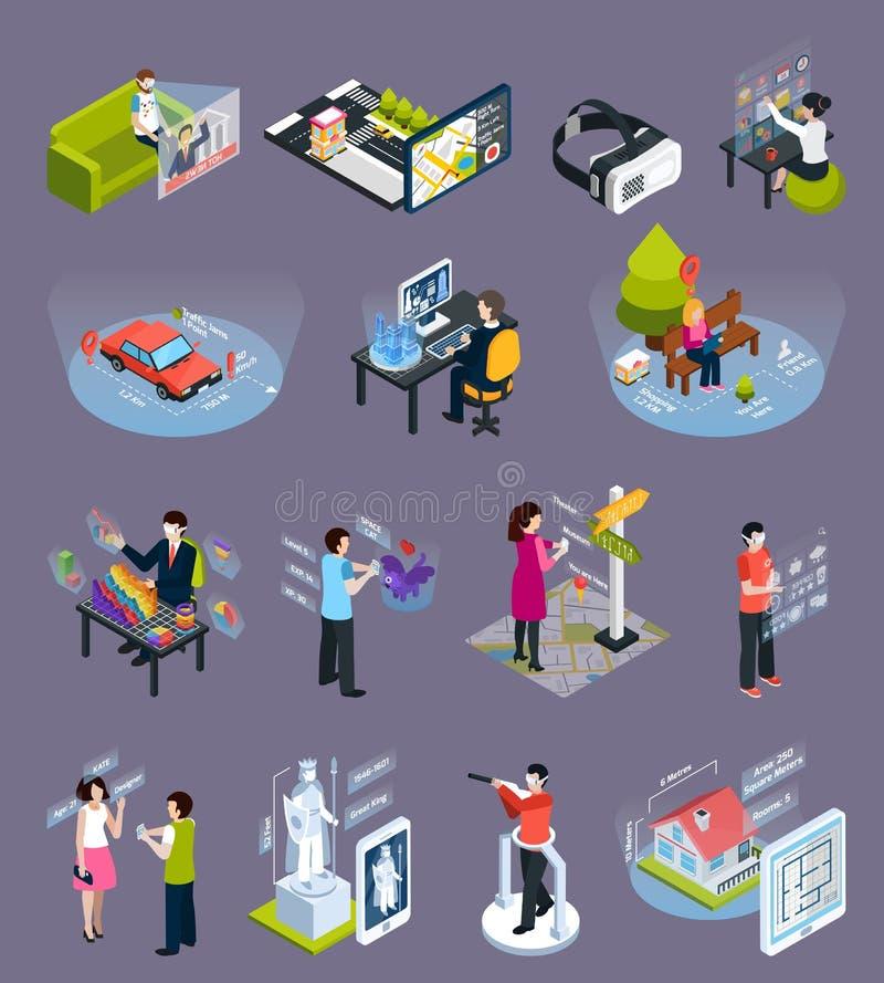 Wirtualne Zwiększać rzeczywistość Isometric ikony Ustawiać ilustracja wektor