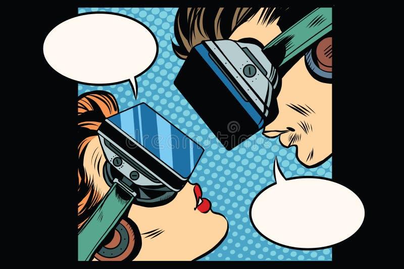 Wirtualni miłość mężczyzna kobiety vr szkła ilustracji