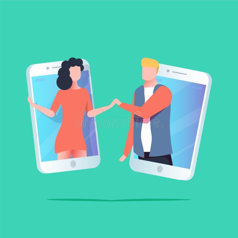 Wirtualni związki, online datowanie i ogólnospołeczny networking pojęcie z nastolatkami opowiada na internecie, ilustracji