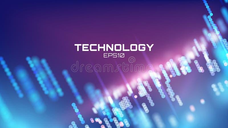 Wirtualny cyberprzestrzeni tehcnology tło Cyber hud technika Futurisic interfejs royalty ilustracja