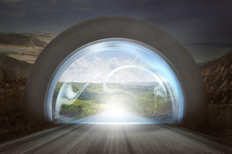 Wirtualny drzwi na brama łuku wejściowy góra krajobraz fotografia stock