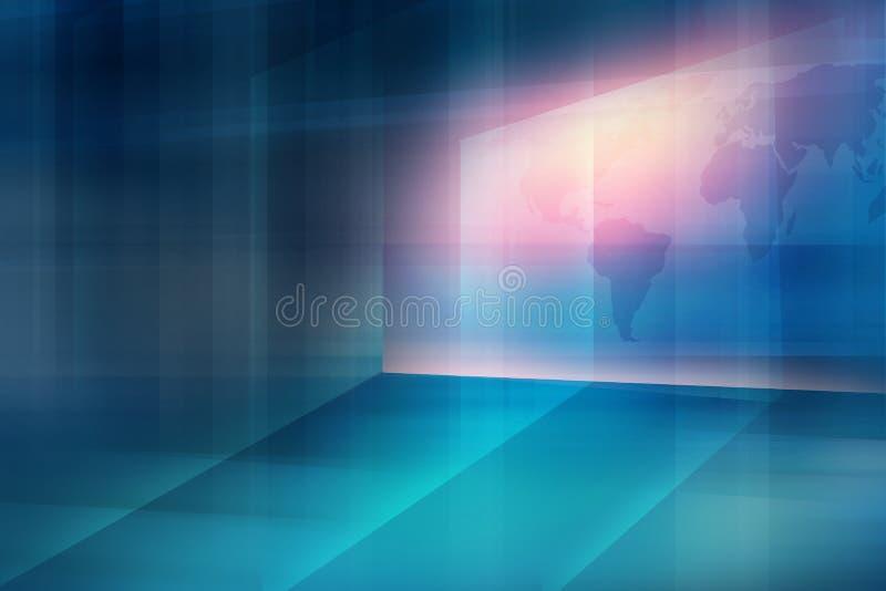 Wirtualny ekran na przejrzystej 3d podłoga z lekkimi promieniami i światem royalty ilustracja