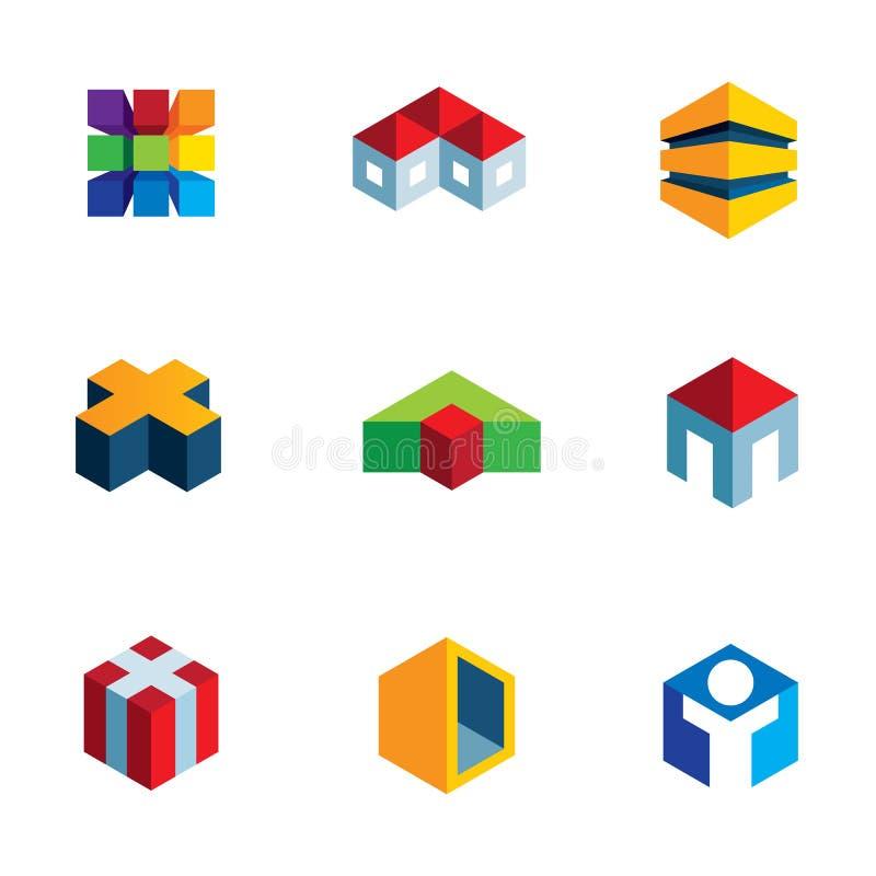 Wirtualny nieruchomość domowego budynku budowy loga innowaci ikony set royalty ilustracja