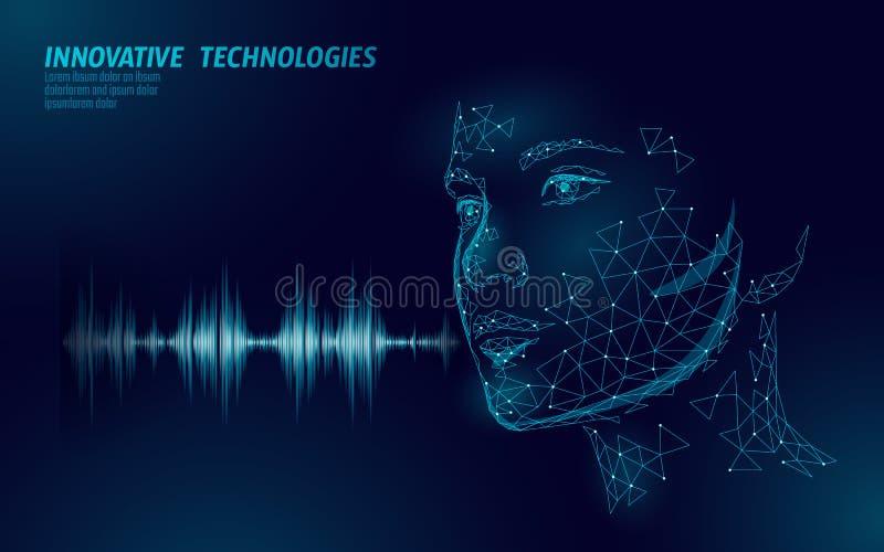 Wirtualny pomocniczy głosu rozpoznania usługi technologii biznesu pojęcie AI sztucznej inteligencji robota pomocy praca ilustracja wektor
