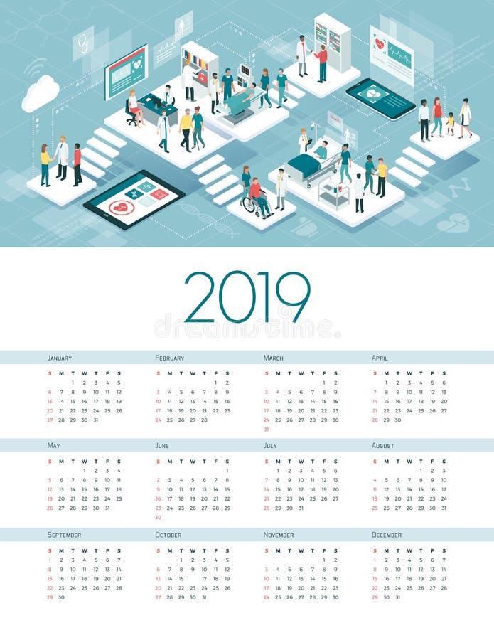 Wirtualny szpitala kalendarz 2019 ilustracja wektor