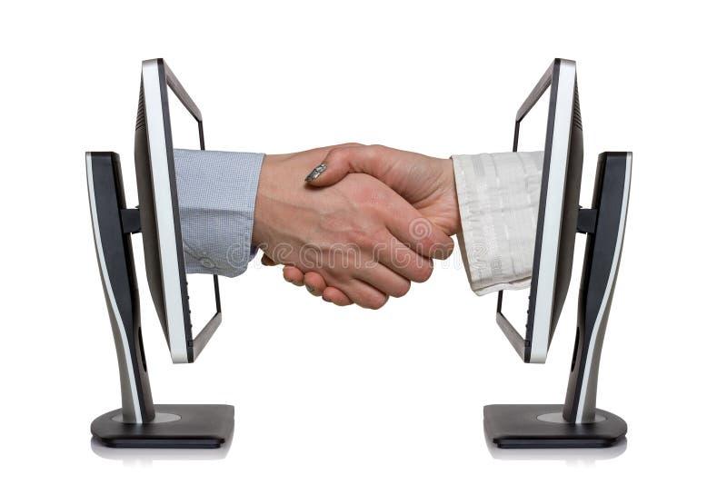 Wirtualny uścisk dłoni zdjęcia stock