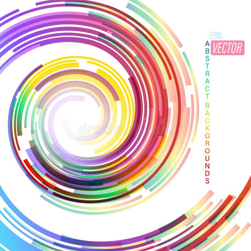 Wirujący kolory abstrakcjonistycznych na białej scenie royalty ilustracja