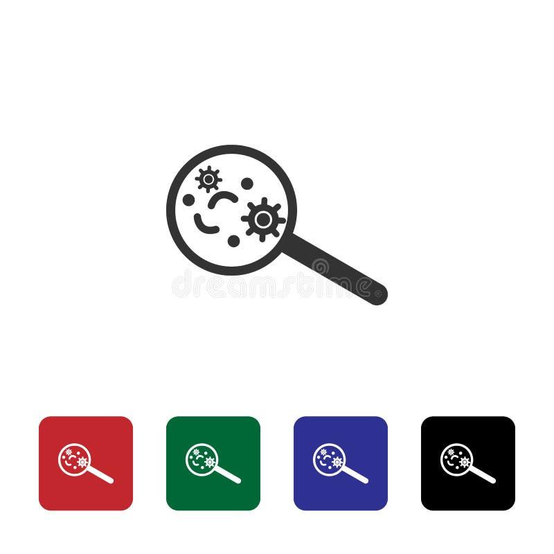 Wirus, magnifier wektoru ikona Prosta element ilustracja od biotechnologii poj?cia Wirus, magnifier wektoru ikona bioengineering royalty ilustracja