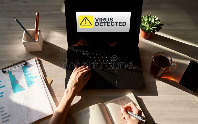 Wirus Wykrywająca ostrzegawcza wiadomość na ekranie Cyber naruszenie bezpieczeństwa Ochrona danych technologii i interneta pojęci fotografia royalty free