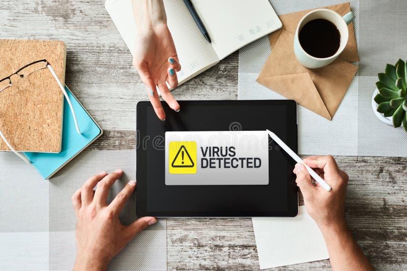 Wirus Wykrywająca ostrzegawcza wiadomość na ekranie Cyber naruszenie bezpieczeństwa Ochrona danych technologii i interneta pojęci zdjęcie royalty free