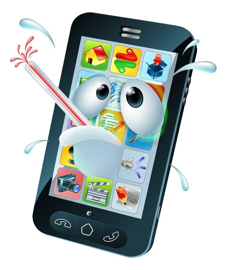 Wirusowa mobilna telefon komórkowy kreskówka ilustracja wektor