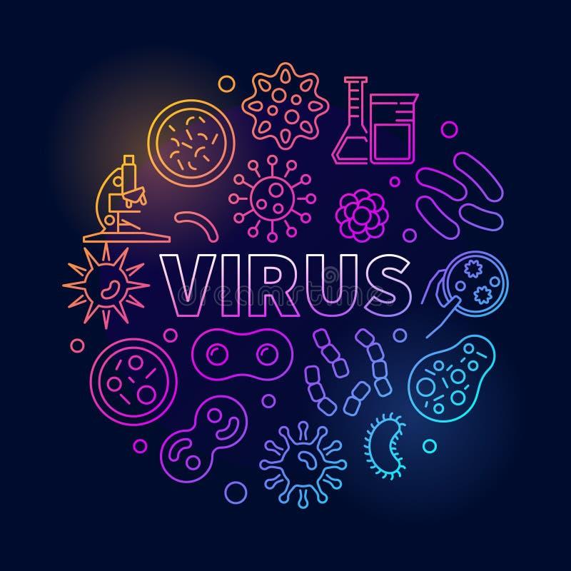 Wirusowa round wektorowa kolorowa ilustracja robić z wirus ikonami royalty ilustracja