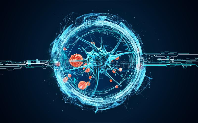 Wirusowe komórki pod mikroskopem ilustracji