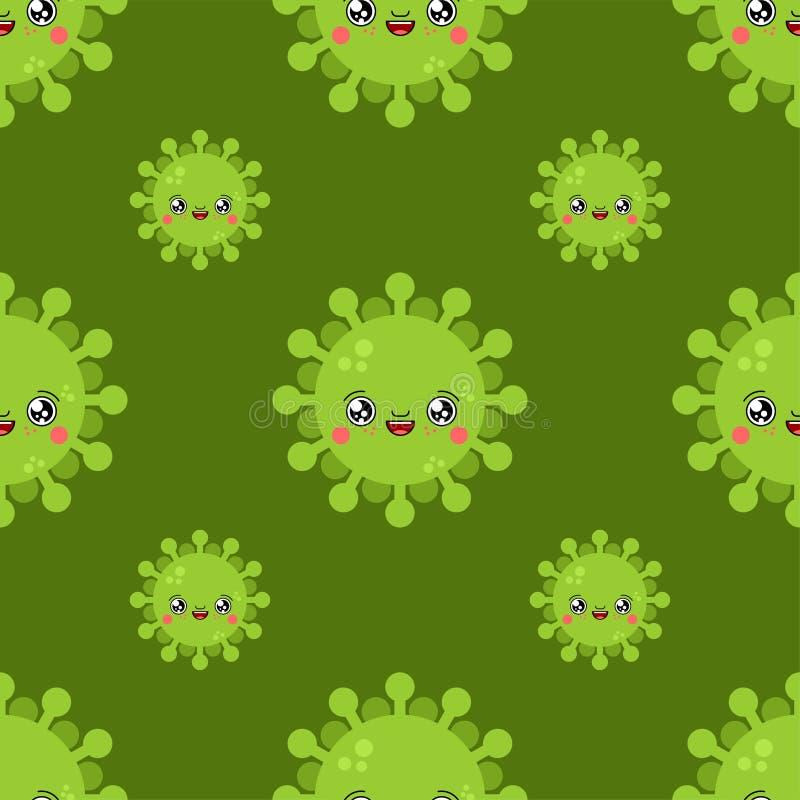 Wirusowego kawaii kreskówki Śliczny wzór Śmieszny infekcji tło Słodka drobnoustrój bakterii wektoru tekstura ilustracja wektor