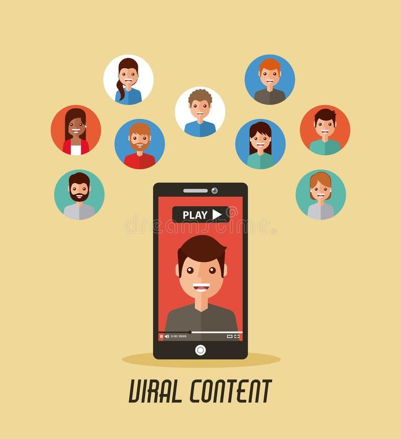 Wirusowego zadowolonego telefonu komórkowego wideo ludzie ilustracji