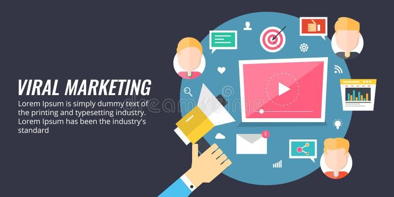 Wirusowy marketing - biznesowego mężczyzna mienia megafon dla wprowadzać na rynek i promoci, ogólnospołeczni środki, reklamowy po ilustracja wektor