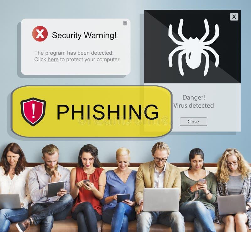 Wirusowy Phishing ochrony ostrzeżenia ostrzeżenia pojęcie fotografia stock