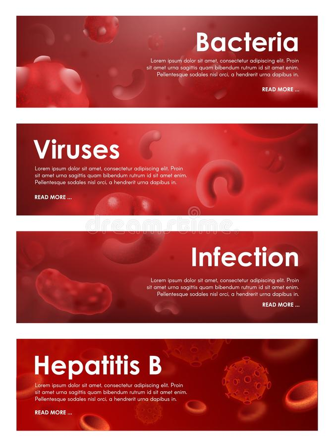 Wirusy, bakteryjne infekcje i krwionośne choroby, ilustracji