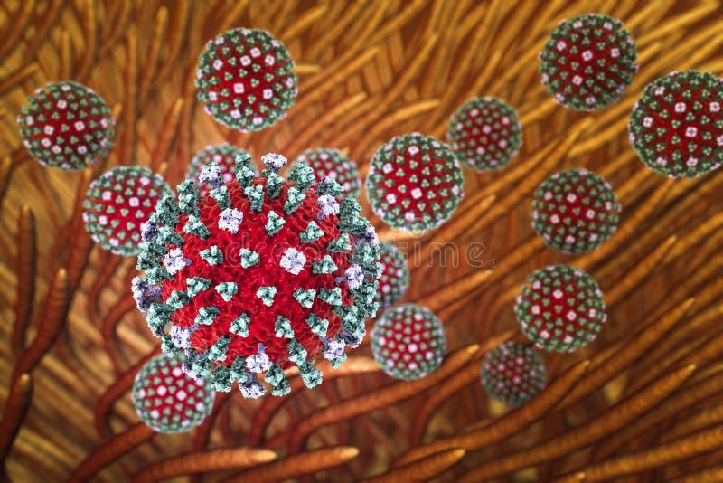 Wirusy grypy infekuje oddechowego system ilustracji