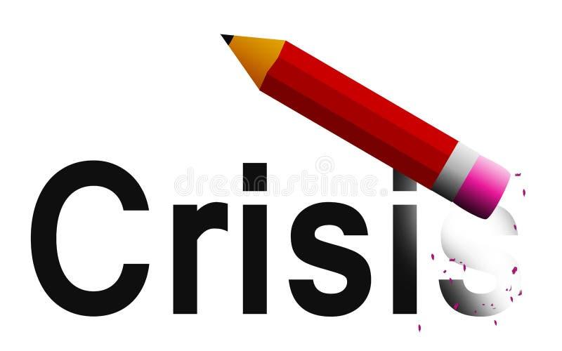 Wis crisis met potloodgom vector illustratie