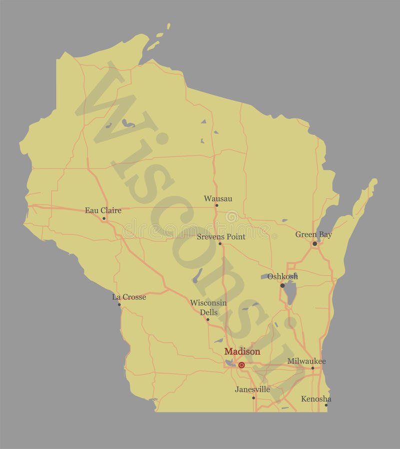 Wisconsin accurate vector exact detailed State Map with Community Assistance and Activates Icons Original pastel Illustration. Un. Ited States of America stock illustration