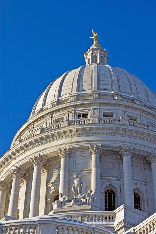 Wisconsin Capitol, Madison. The Capitol dome in Madison, Wisconsin in winter royalty free stock image