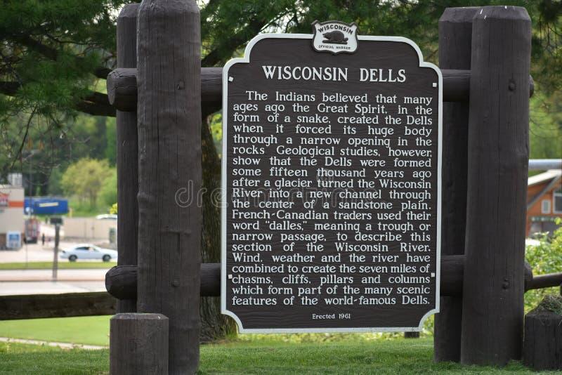 Wisconsin Dells Histórico Marker foto de archivo