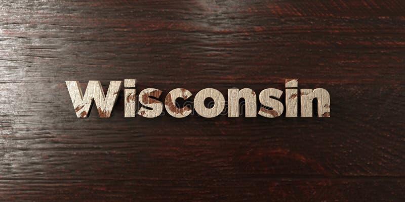 Wisconsin - grungy drewniany nagłówek na klonie - 3D odpłacający się królewskość bezpłatny akcyjny wizerunek ilustracja wektor