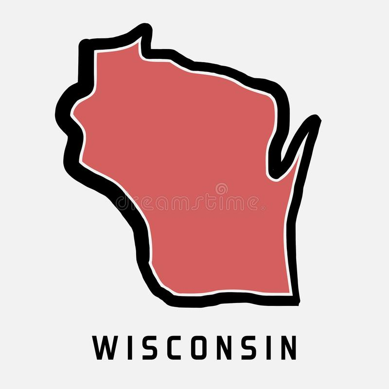 Wisconsin map outline royalty free illustration