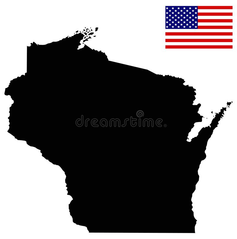 download wisconsin map with usa flag state in the north central united states stock