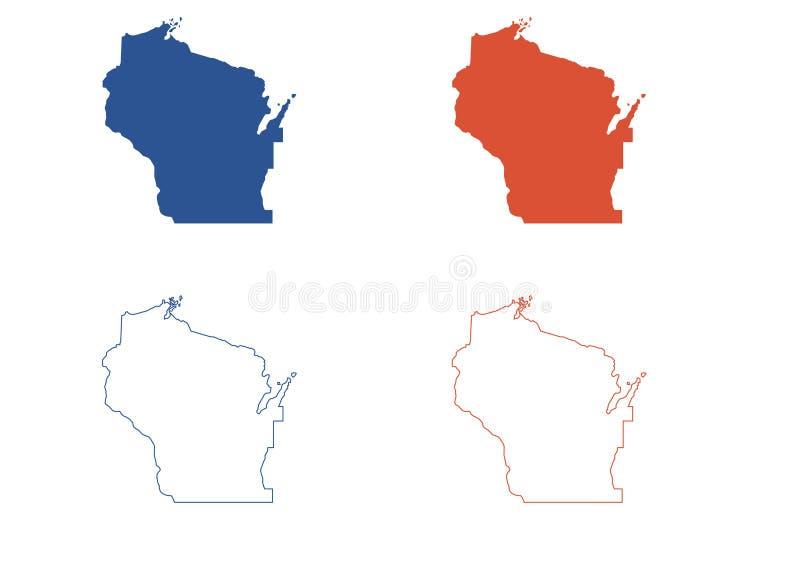 Wisconsin mapa royalty ilustracja